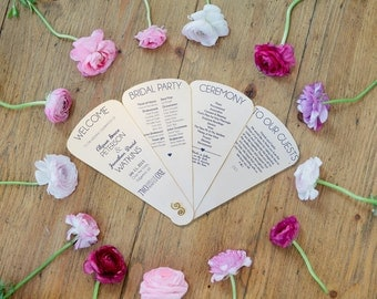 Sets of 10 Petal Wedding Program Panel Fan