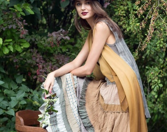 Romantic tiered  light-brown-beige color skirt in boho style