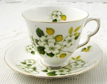 Vintage Queen Anne Tea Cup and Saucer with Orange Blossom Flowers, English Bone China