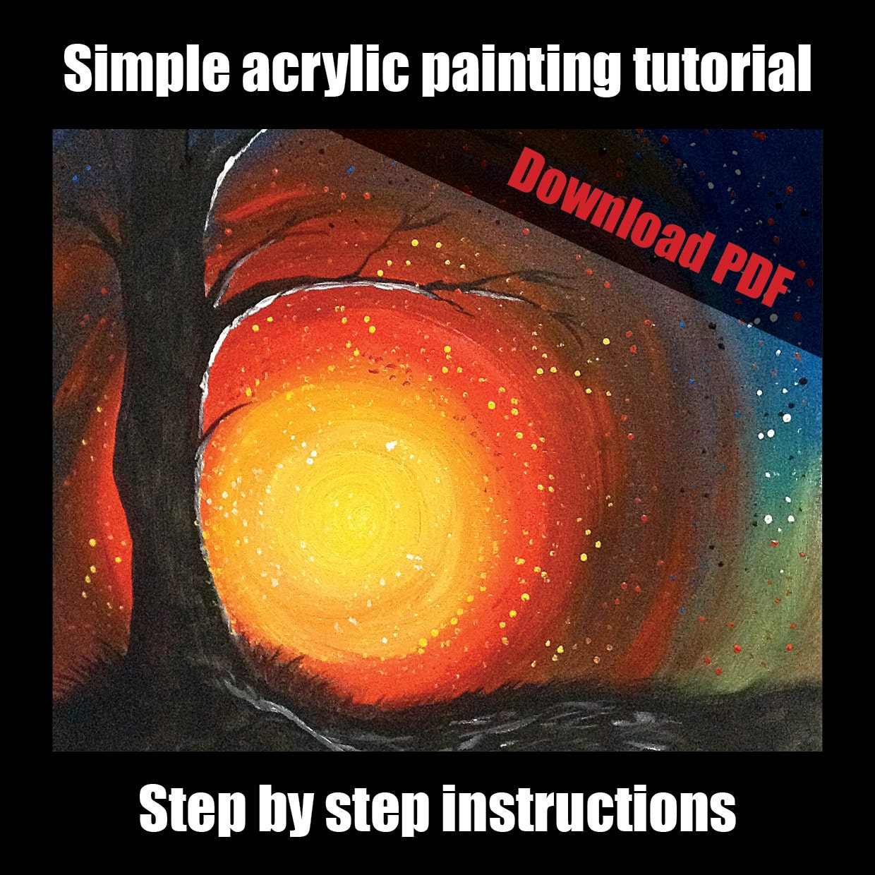 Simple acrylic painting tutorial for beginners step by step for Acrylic painting for beginners step by step