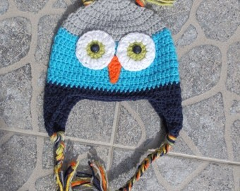 READY TO SHIP, Baby Owl Hat 6-12 months,  Handmade crocheted baby hat