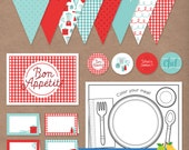Retro Recipe Cooking Printable Party Pack (Red) Instant Download // Birthday Party Kit // Banner, Cupcake Toppers, Labels, Placemat, Sign