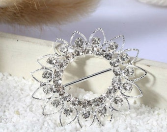 Quality 46mm Round Ribbon Slider Crystal Rhinestones Buckle Wedding Cards