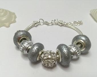 Bracelet charm silver grey's ref 625