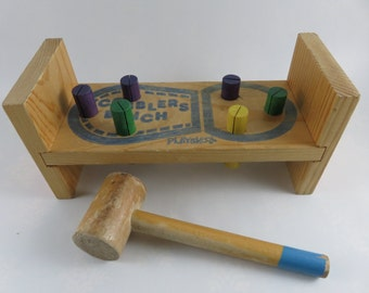 Playskool Cobbler's Bench with Mallet - Vintage Wooden Workbench with Hammer and Pegs