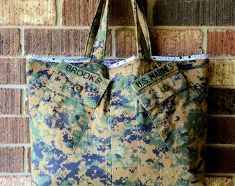 Recycled keepsake marine tote, bag, purse, diaper bag, hand bag, upcycled repurposed