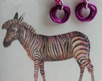 Pink and magenta aluminum mobius drop earrings