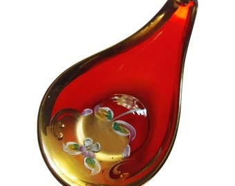 Vintage Red Murano Art Glass Swirled Dish with Enameled Flowers 24K Gold Italian Glass