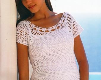 womens crochet top crochet pattern lacy crochet sweater 32-42 inch 4 ply cotton yarn womens crochet patterns pdf instant download