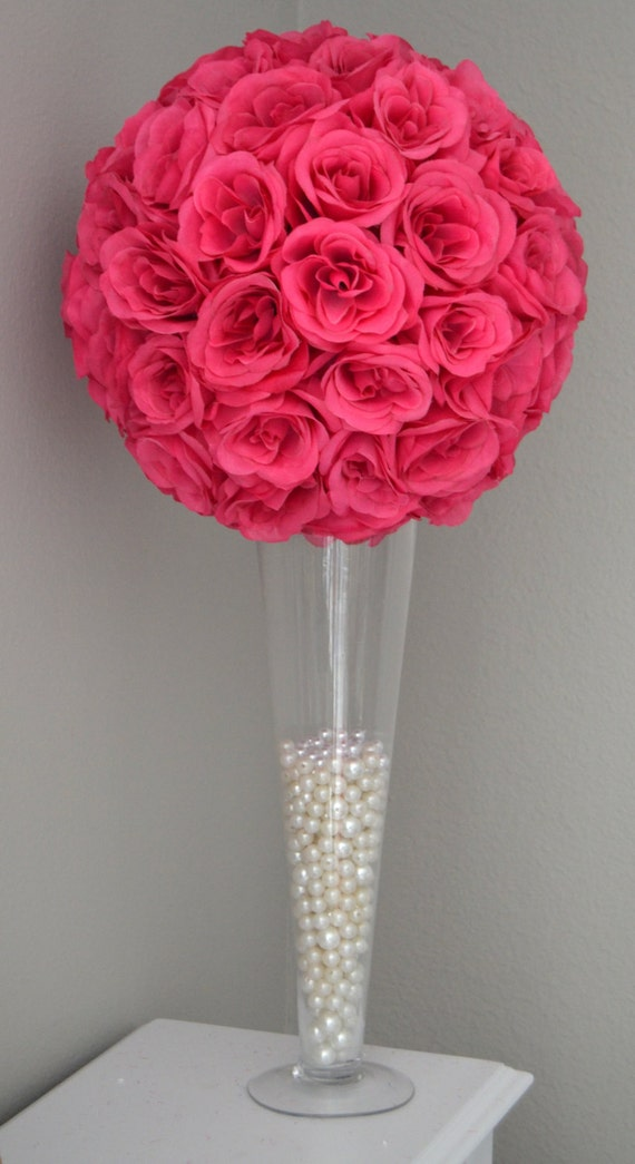 FUCHSIA / HOT PINK Flower Ball Wedding Centerpiece Kissing