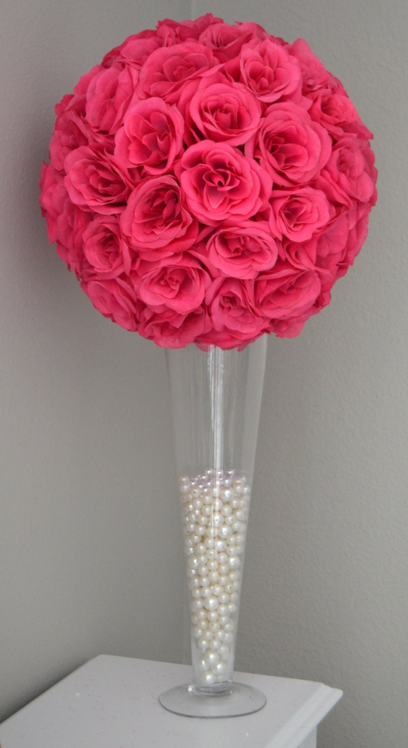 Fuchsia hot pink flower ball wedding centerpiece kissing