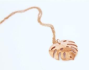Palm Leaf, Tropical Leaf philodendron, monstera leaf,  Copper Pendant, handmade copper pendant and copper chain, leaf design necklace