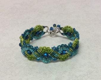 Aqua and Lime Geometric Micro Macrame Beaded Bracelet