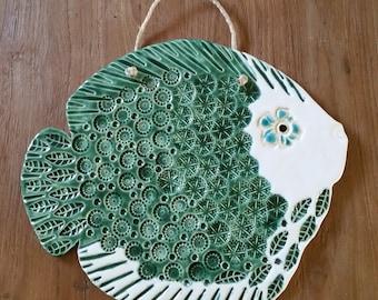SALE: Unique HUGE fish, fish tile, wall tile, mosaic tile,  pendant, wall hanger, ceramics, Putoet, PutoetOrgnls, holiday, beach, sea