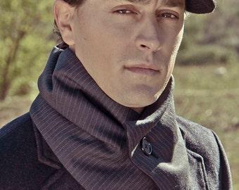 Cuello elegante, cuello con un botón, bufanda forro polar, regalo para hombre, cuello raya diplomática, cuello forro polar, bufanda