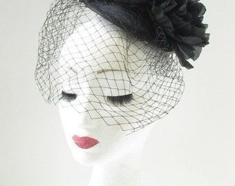 Black Birdcage Veil Peony Flower Fascinator Races Ascot Hair Clip Headpiece 7AT