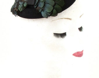 Black Dark Green Lady Amherst Pheasant Feather Pillbox Hat Fascinator Hair 536