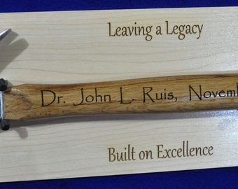 Gift For Doctor ~ Retirement Gift ~ Appreciation Gift ~ Retirement Plaque ~ Ceremonial Gift ~ Recognition Gifts ~ Hammer Gift ~ Award ~ Gift