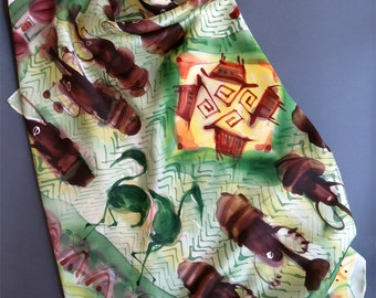 Silk Scarf Square Hand Painted Africa Satin Shawl Unique Handpainted silk scarves Green Brown painted silk Birthday Christmas gift for her