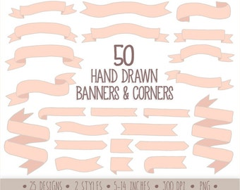 60% OFF SALE. Hand Drawn Banners Clip Art. Doodle Ribbon Banners. Pastel Pink Banners Clipart. Baby Shower, Valnetines Ribbon Clipart.