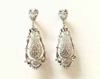 70s Zini Rhodium Plated Brass and Rhinestones Chandelier Earrings