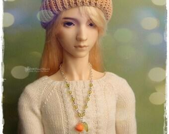 OOAK SD, SD+ jewelry, necklace, pendant, 1/3 bjd, dollfie - Orange In Green #2