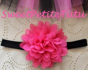 Pink and black headband, Hot Pink and Black headband, Dark Pink and Black headband, headband, Preemie headband, newborn headband, Photo Prop
