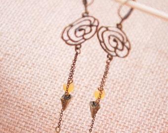 Elegant spike dangle earrings, Long chain earrings, bohemian bridesmaids jewelry, beach wedding