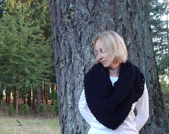 Knit Triangle Shawl ~ Black ~ Triangle Shawl ~ The Willow