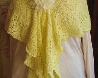knitted shawl tulips yellow
