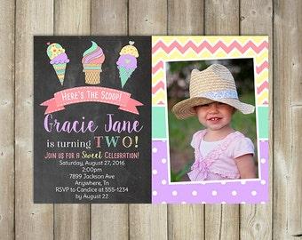 Ice Cream Birthday Invitation - Here's the Scoop - Sweet Celebration - DIGITAL FILE