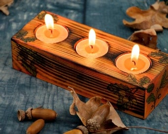 Wooden candle holders Rustic home decor Pyrography Wood burning art Acorn decor Wood candle holders Country decor Tealight candle holders