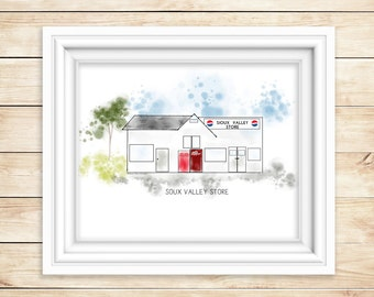 SIOUX VALLEY STORE Watercolor Print  Sioux Valley Minnesota Mn Historic Art Print Lakefield