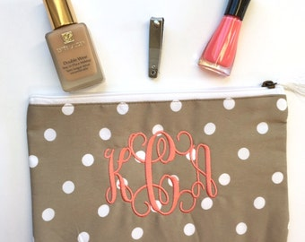 ON SALE Monogrammed Makeup Bag, Polka Dot Makeup Bag, Taupe Cosmetic Bag, Tan Monogrammed Cosmetic Pouch, Khaki Pouches, Bridesmaid Gifts