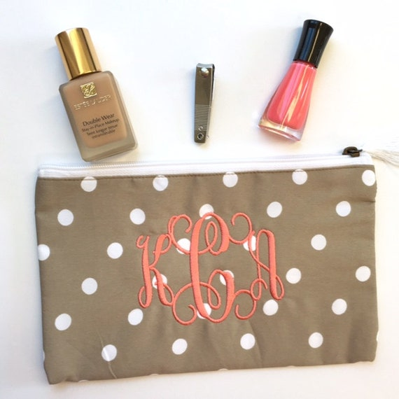 CLOSEOUT Monogrammed Makeup Bag, Polka Dot Makeup Bag, Taupe Cosmetic Bag, Tan Monogrammed Cosmetic Pouch, Khaki Pouches, Bridesmaid Gifts