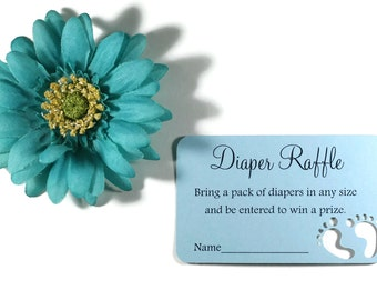 Blue Diaper Raffle Tickets Set of 20 - Baby Blue Shower - Die Cut Feet - Baby Boy's Shower Decoration - Party Ideas - Shower Games