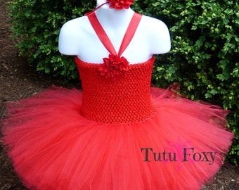 Red Tutu Dress, Red Tutu, Red Flower Girl Dress, Red Birthday Tutu, Birthday Tutu, 1st Birthday Tutu, Christmas Tutu Dress, Christmas Tutu