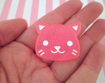 Big Hot Pink Glitter Cat Cabochons (pick your amount) #363a