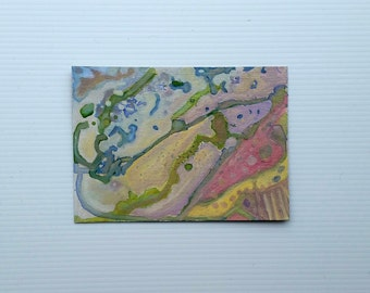 """Small original ink and oil painting on paper 5x7 inches """"The Valleys below"""""""