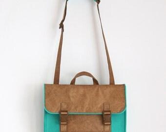 Retro Felt Satchel with Lightweight Tyvek Paper, Fashion Felt Satchel / Messenger Bag / Crossbody Bag, Personalized Satchel with Tyvek Paper
