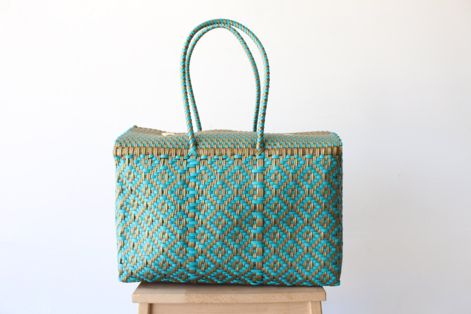 teal gold mexican bag handmade mexican bag picnic basket