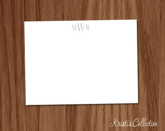 Masculine Monogrammed Flat Note Card Set - Classic Simple Preppy Personal Stationary Stationery for Men