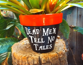 """Disney's Pirates of the Carribean Inspired Pot. """"Dead Men Tell No Tales"""""""