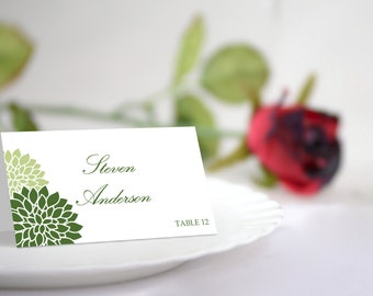 DIY Wedding Place Card Template, Green Chrysanthemum Seating Card. Green Flowers, INSTANT DOWNLOAD, Editable Colors & Text