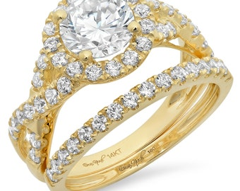 2.30 CT Round Cut Engagement Ring band set in Solid 14k Yellow Gold Bridal Made and Designed in the USA Summer Gift