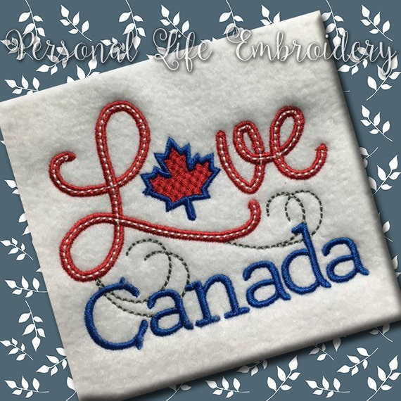 Love canada day maple leaf canadian machine embroidery design
