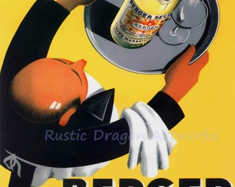 "Roland Ansieau ""Berger 45 Type Marseillais"" Whiskey Waiter Advertisement 1935 Reproduction Digital Print Vintage Print Wall Hanging"