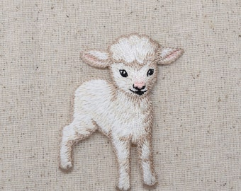 White - Baby Lamb - Iron on Applique - Embroidered Patch - 1510000