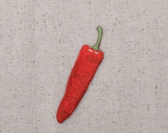Chili Pepper - Red Hot - Jalapeno - Vegetable Garden - Embroidered Patch - Iron on Applique