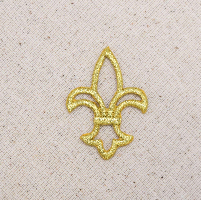 Fleur De Lis Open Gold Iron On Applique Embroidered